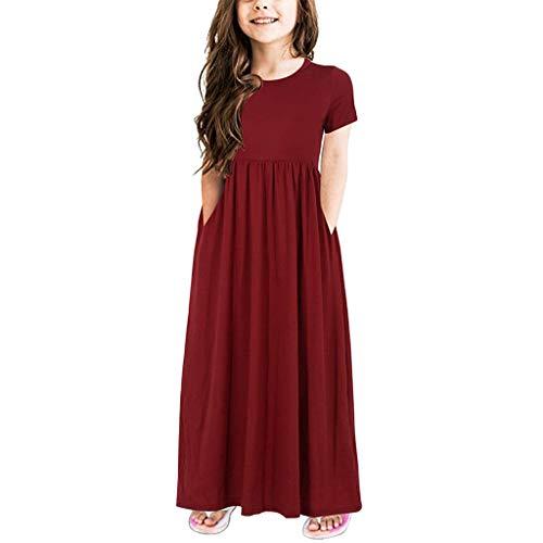 Girls Dresses 4-12 Girl's Short Sleeve Floral Flared