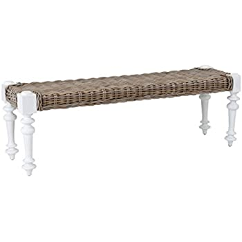 East At Main McKee White Rattan Bench, (55x24x18)