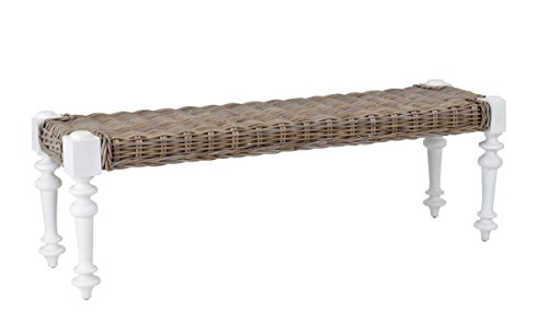 East at Main Baldwin White Rattan Bench, (55x24x18) by East At Main