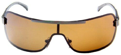 Sturgeon Men's Polarized Shield Sunglasses Spring Hinge w/ Free Pouch-Polished Gun - Polarize Shield