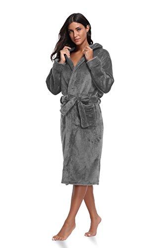 Luvrobes Women's Plush Fleece Hooded Robe Ultra-Soft Long Bathrobe -