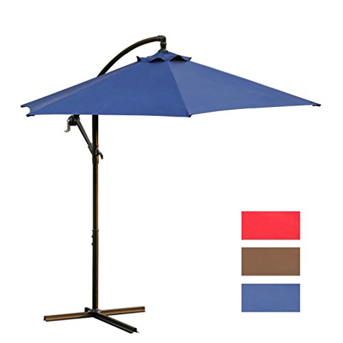 Wide Angle Sunshade - Rumas Outdoor UA Protection Patio Umbrella with Triangular Bracket - Solid Oversize Outside Sunshade 9Ft with Push Button Tilt and Crank (Blue)