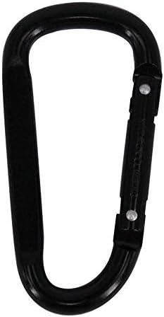 KAYINXLN D型フラットダブルリベットスプリングタイプブラックシルバースポットアルミ合金カラビナクイックハンギング-10パック (色 : Black 10 pack)