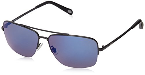 Fossil FOS3034S Rectangular Sunglasses, Matte Black & Gray Blue Mirror, 60 - Womens Fossil Sunglasses