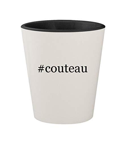#couteau - Ceramic Hashtag White Outer & Black Inner 1.5oz Shot Glass