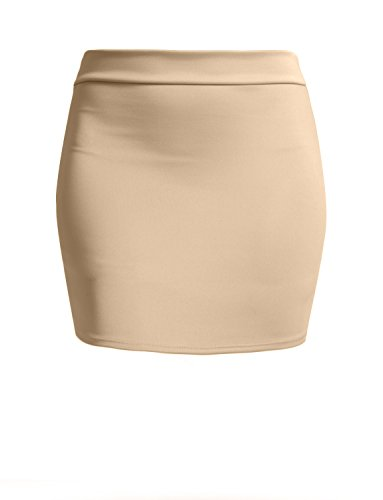 NE PEOPLE Women's Stretch Knit Bodycon Mini Pencil Skirt Made In USA,Newsk09-beige,Medium