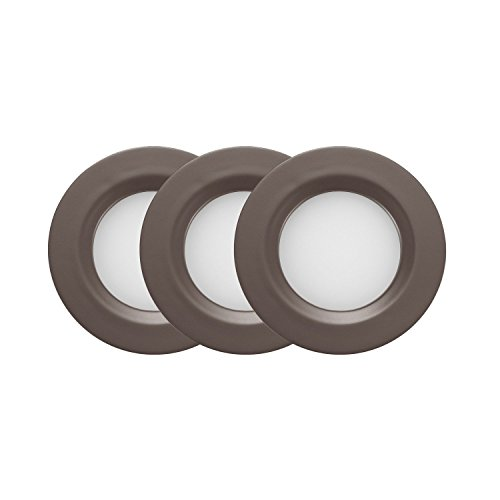 GetInLight Dimmable LED Puck Lights Kit, Recessed or Surface Mount Design, Soft White 3000K, 2W (6W Total, 30W Equivalent), Bronze Finished, ETL Listed, (Pack of 3), IN-0102-3-BZ by GetInLight