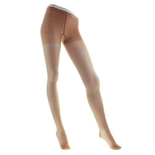(Legline Super Sheer 15-20mmHg Women's Sheer Stocking Pantyhose Closed Toe Color: Nude, Size: Queen)