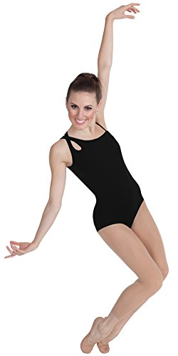 Body Wrappers Camisole Asymmetrical Keyhole Back Leotard, Black, Tall (Body Wrappers Leotard)