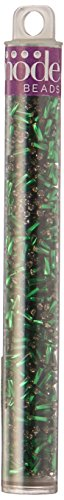 Swirl Bugle Beads 5.5'Tube-2' Emerald Silver Lined