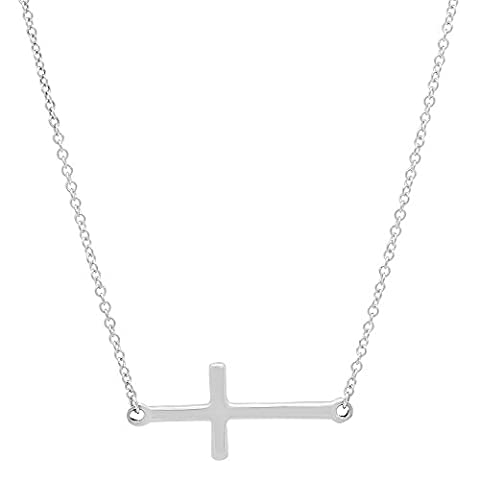 14K White Gold Sideways Cross Necklace with Rolo Link Chain - 16