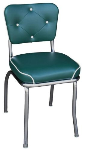 Richardson Seating Retro 1950s Chrome Button Tufted Back Waterfall Seat Diner Chair in Green