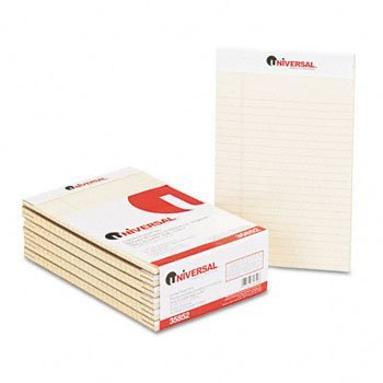 Universal® Fashion Colored Perforated Ruled Writing Pads PAD,LGL RULD,PERF,5X8,IY (Pack (Fashion Colored Perforated Ruled Writing)