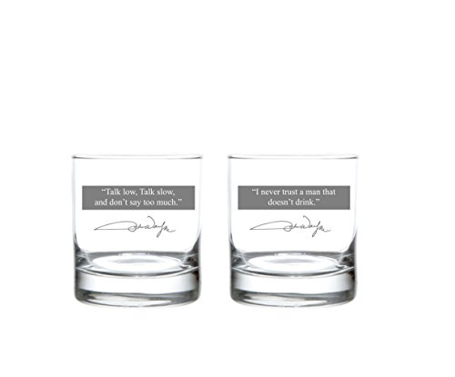 (Rolf Glass John Wayne Quote Series 1 On The Rocks Glass (Set of 2), 11 oz, Clear)