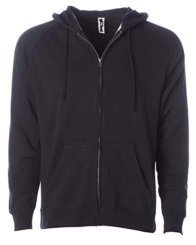 Global Blank Mens 2XL Fleece Zip Up Hoodie Plus Size Sweatshirt Women Outwear Coat Black