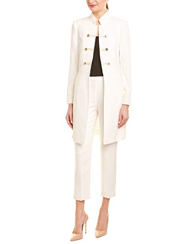 Tahari by ASL Women's Crepe Military Style Topper Ivory White 10