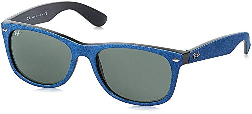 Ray-Ban Men's New Wayfarer 0RB2132 Square Sunglasses, BLACK/TOP BLUE ALCANTARA, 58 mm (Billig Ray Ban Style Sonnenbrille)