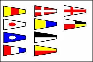 Vintage International Code Flags - Set of 14 Flag - Ship'S 100% Original - Nautical/Maritime/Marine/Boat/Ship/Vessel/Nautical Décor (5030)