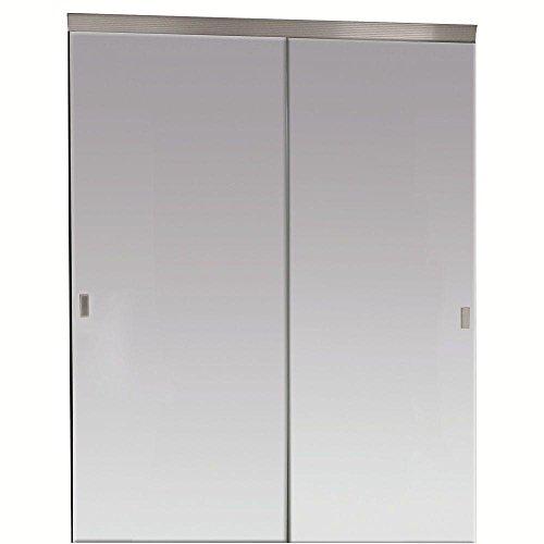 Impact Plus 60 in. x 80 in. Beveled Edge Backed Mirror Aluminum Frame Interior Closet Sliding Door with Chrome Trim