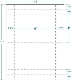 500 Blank White 6'' x 4'' Postcards, 2-Up on 8.5'' x 11'' Sheet, Inkjet/Laser Compatible, Compulabel #430604