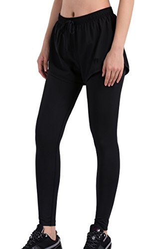 Red Plume® Women's Compression Sports Fake Two Shorts and Leggings Running Pants (XL, Black)