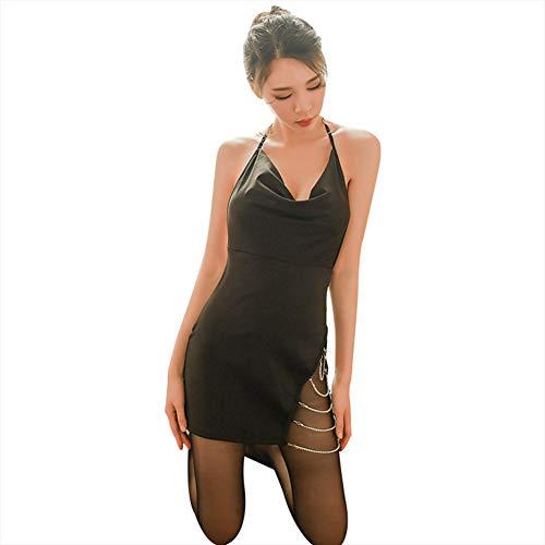 YCCDDY Lingerie Women's Uniform Shine Split Banded Halter Sexy Skirt,Black