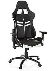 hjh OFFICE 729200 Silla Gaming League Pro Piel sintética Negro/Blanco Silla Escritorio