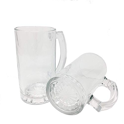 (All Purpose Durable Large 16 oz.Heavy Duty Solid Pub Bar Glass Beer Mug with Starburst Thick Bottom Design,Groomsmen Beer Glasses Gift(4))