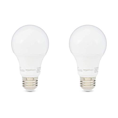 AmazonBasics 60W Equivalent, Soft White, Non-Dimmable, 10,000 Hour Lifetime, A19 LED Light Bulb | 2-Pack