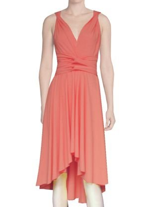 Back Wrap Gown (E K Women's twist wrap dress Convertible high-low knee length infinity gown-coral-xs-m)
