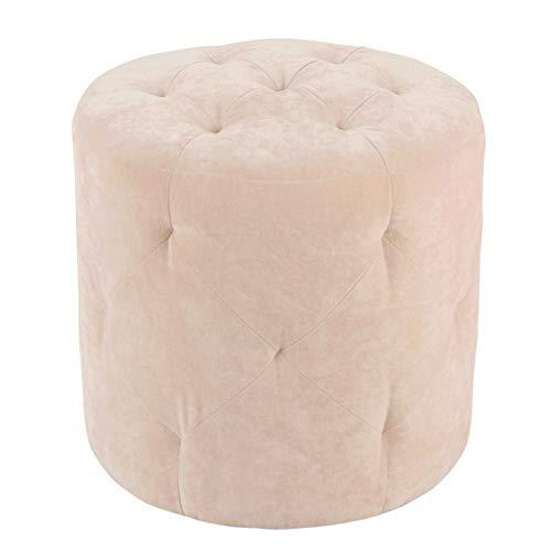 HomePop Youth Button Tufted Velvet Ottoman, Pink (Ottoman Velvet Round)