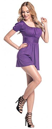 Pieghe Top Con Glamour Jersey Estivo Donna Maglia Porpora Manica Empire In Corta 408 npHwaWqF6w