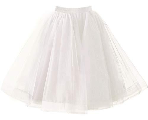 Babyonlinedress Tiered 1950s Tulle Skirts for Women Petticoats Skater Dress White