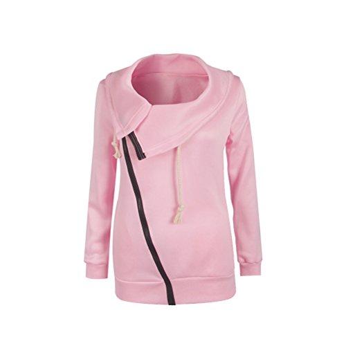 Glamorous Con Cappotto Obliquo Giubbotto Giacche Semplice Zip Top Autunno Fashion Pink Colore Vintage Giacca Cappotti Elegante Manica Donna Casual Puro E Calda Inverno Lunga IwRqFzA
