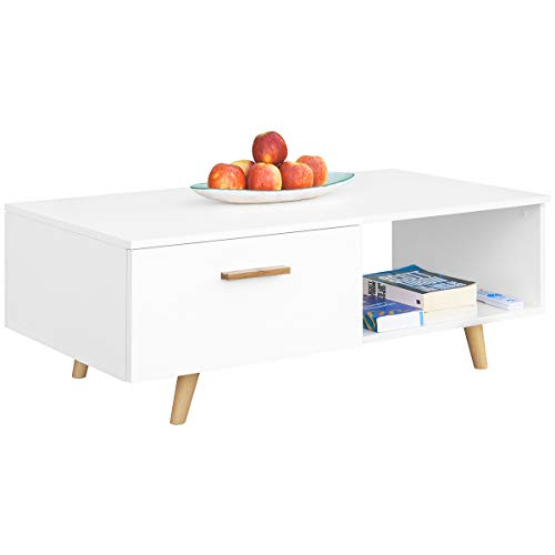 COMIFORT Mesa De Centro - Mueble para Salon Comedor Oficina Moderna con Patas de madera de haya macizo, Color Blanco