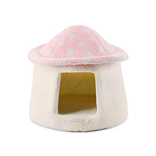 CHUDAN+ Pet Nest Mushroom Cat Litter Cat Sleeping Bag Cat Tent Cat House Mongolian Cat Litter Kennel Warm Windproof - Color Pink - Size 3635cm