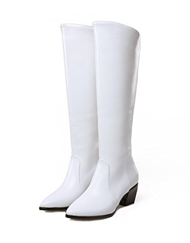 BalaMasa Womens Chunky Heels Back Zipper Winkle Pinker Imitated Leather Boots White QXCwBuVAB
