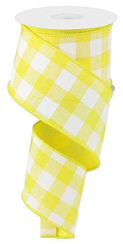 Plaid Check Wired Edge Ribbon - 10 Yards (Yellow, White, - Ribbon And Yellow White