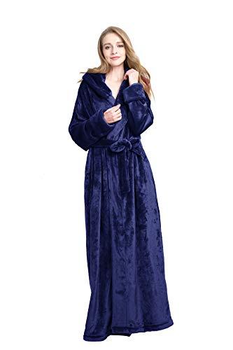 Find Dress Extra Long Plush Fleece Robe Thicken Soft Warm Bathrobe Royal Blue S