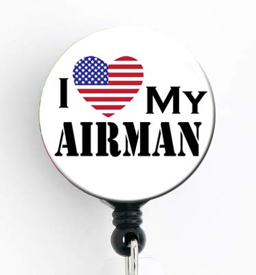 I Love My Airman - Retractable Badge Reel with Swivel Clip and Extra-Long 34 inch Cord - Badge Holder/Military/Air Force/Nurse Badge