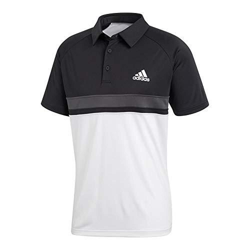 adidas Mens Tennis Club Color Block Polo, Black/White, X-Large