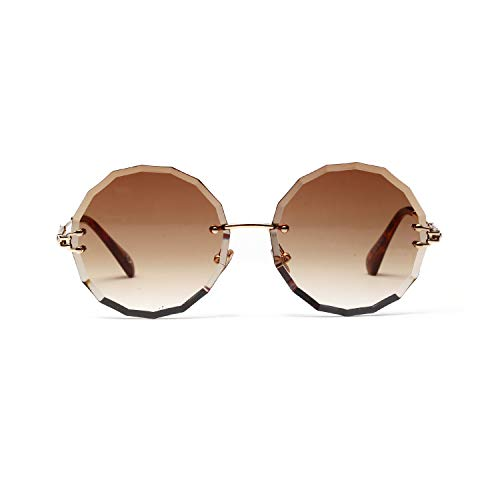 Sunglasses, 2019 New EXEcharge Rimless Gradient Lens Oversized Round Delicate Trendy Rimless Sunglasses Polarized UV Protection Multiple Colors Availabl -Light Coffee