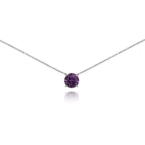 Purple February Gem - Sterling Silver Purple Solitaire Choker Necklace set with Swarovski Crystal