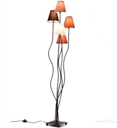 Kare, Lampada a piantana con bracci flessibili, Mocca a 5 luci ...