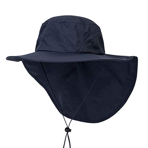 (CapsA Sun Hats for Women Fishing Hiking Cap with Neck Flap Wide Brim Hat Fishing Safari Cap for Outdoor Hiking Gardening Beach Travels Pool Boating Fishing)