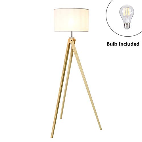 "Viugreum LED Tripod Floor Lamp, Solid Ash Wood, Adjustable Arm Reading Light 43.5"" Height, E26 8W Warm White Led Bulb Inside(60W MAX), Classic Design for Living Room Bedroom Office - White"
