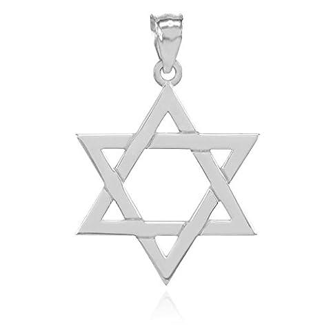 925 Sterling Silver Polished Judaica Charm Jewish Star of David Pendant (Star Of David Silver Pendant)