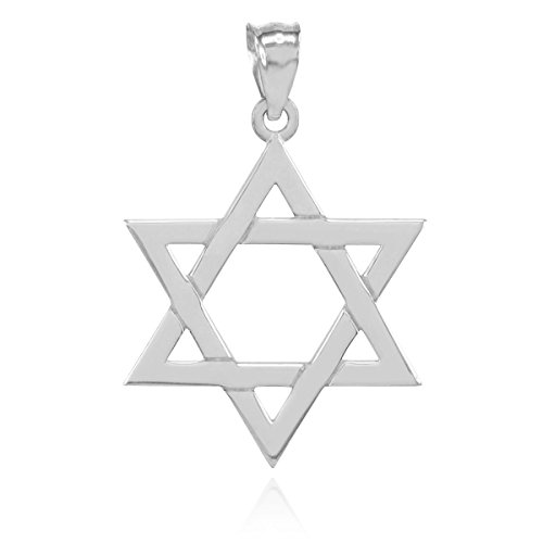 - 925 Sterling Silver Polished Judaica Charm Jewish Star of David Pendant