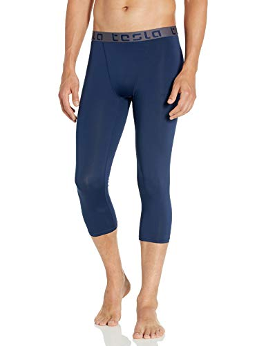 TSLA Men's Compression 3/4 Capri Pants Baselayer Cool Dry Sports Running Yoga Tights