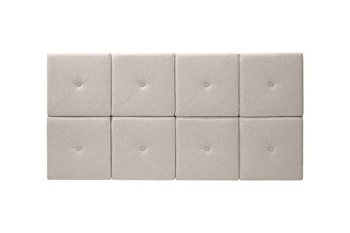 Foremost 62 31-Inch Natural Linen with X Seam and Tuft Headboard Tiles, Queen, 31 inches (Headboards For Mounted Wall Queen Beds)